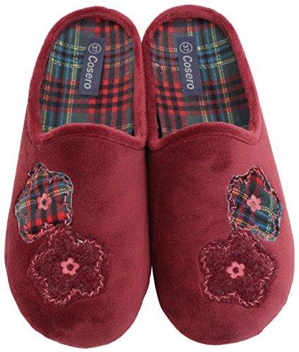 COSERO Damen Pantoffel Hausschuhe mit Fester Sohle Herausnehmbare Innensohle Gr. 36-42 CARMIN/ROT
