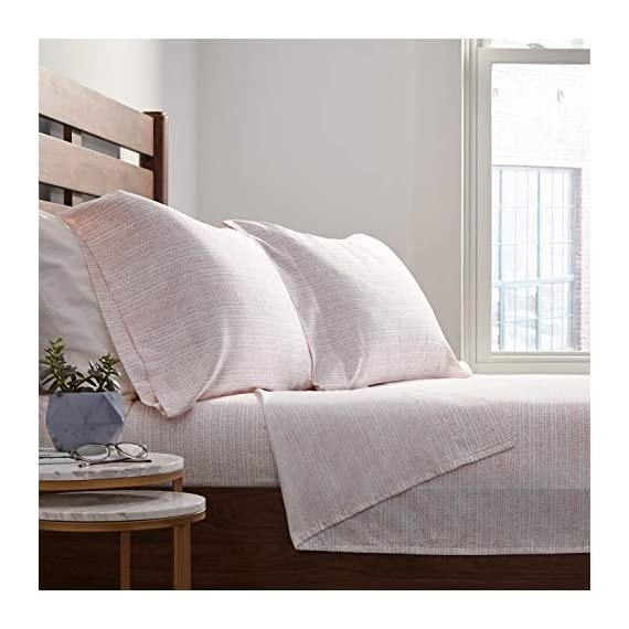 Amazon Brand – Rivet Half Moon Sateen 100% Cotton Bed Sheet Set, King, Peach-Pink/White - From their satin-like feel and subtle sheen to their abstract pattern, these sateen cotton sheets are ready to envelop you in modern style and texture. Soft and lightweight, they will blend well in a modern or industrial setting. 100% Cotton Imported - sheet-sets, bedroom-sheets-comforters, bedroom - 51pkSmcg JL. SS570  -
