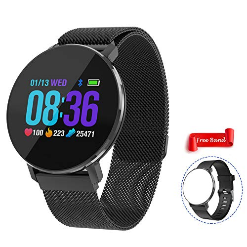 Bluetooth Smart Watch with Heart Rate Monitor Waterproof Fitness Tracker Touch Screen Pedometer Sleep Tracker Compatible with iOS Android Cellphone Men Women Watch