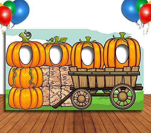 Face Cutout Photo Props (Pumpkins and Scarecrow Hole in Face Banner, Face Cutout, Party Selfie Photo Prop, Birthday)