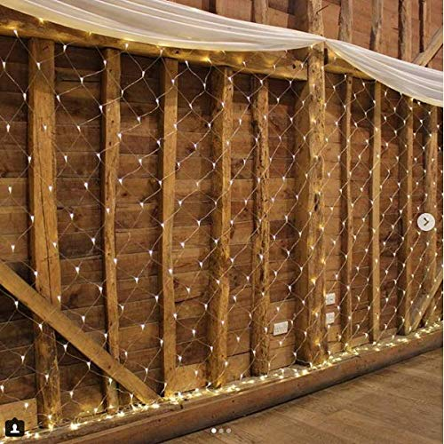 IMAGE 300 LED Net Mesh Fairy String Light 8 Modes Flashing with Memory Function Lighting 14.8x5 Foot for Wedding Party Backdrops Garden Tree Waterproof UL Safety Standard Warm White (Netting Fairy Light Indoor)