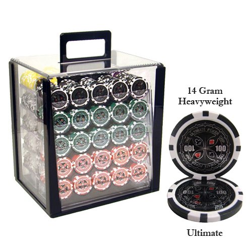 Brybelly 1,000 Ct Ultimate Pro Poker Set - 14g Clay Composite Chips with Acrylic Display Case for Casino Games