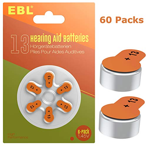 EBL Size 13 PR48 Hearing Aid Batteries 60 Pack 1.45V Zinc-Air Battery by EBL