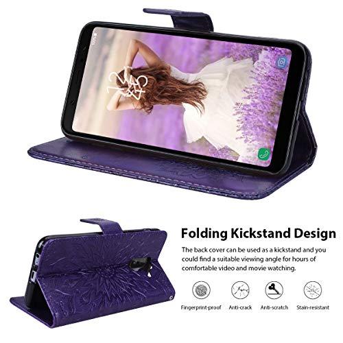 Portefeuille Case Tournesol Samsung Fonction En A6 stand Pu Galaxy Plus Etui Cuir Violet Flip Coque Housse Vemmore Pour Motif Vert carte 2018 Premium magnétique Fentes Protection Antichoc qwESARZc6x