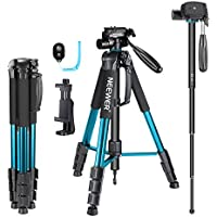 Neewer 70 inches Aluminium Camera Tripod Monopod with 3-Way Swivel Pan Head,Cellphone Holder,Bluetooth Remote,Bag for iPhone,Samsung,Huawei Smartphone,DSLR Camera,Load Up to 8.8 Pounds Blue (SAB264)