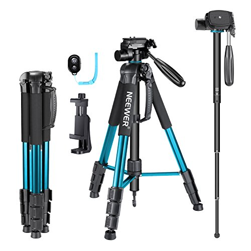 Neewer 70 inches Aluminium Camera Tripod Monopod with 3-Way Swivel Pan Head,Cellphone Holder,Bag for iPhone,Samsung,Huawei Smartphone,DSLR Camera,Load Up to 8.8 Pounds Blue (SAB264)