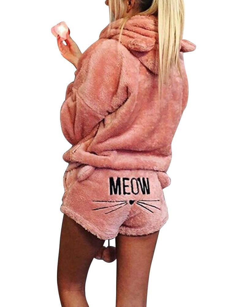 ZiXing Damen Warmer Winter Gesetzte Zweiteilige Nette Katzen Pyjamas Hoodie Nachtwäsche mit Kapuze Hosenanzug Schlafanzug Jumpsuit