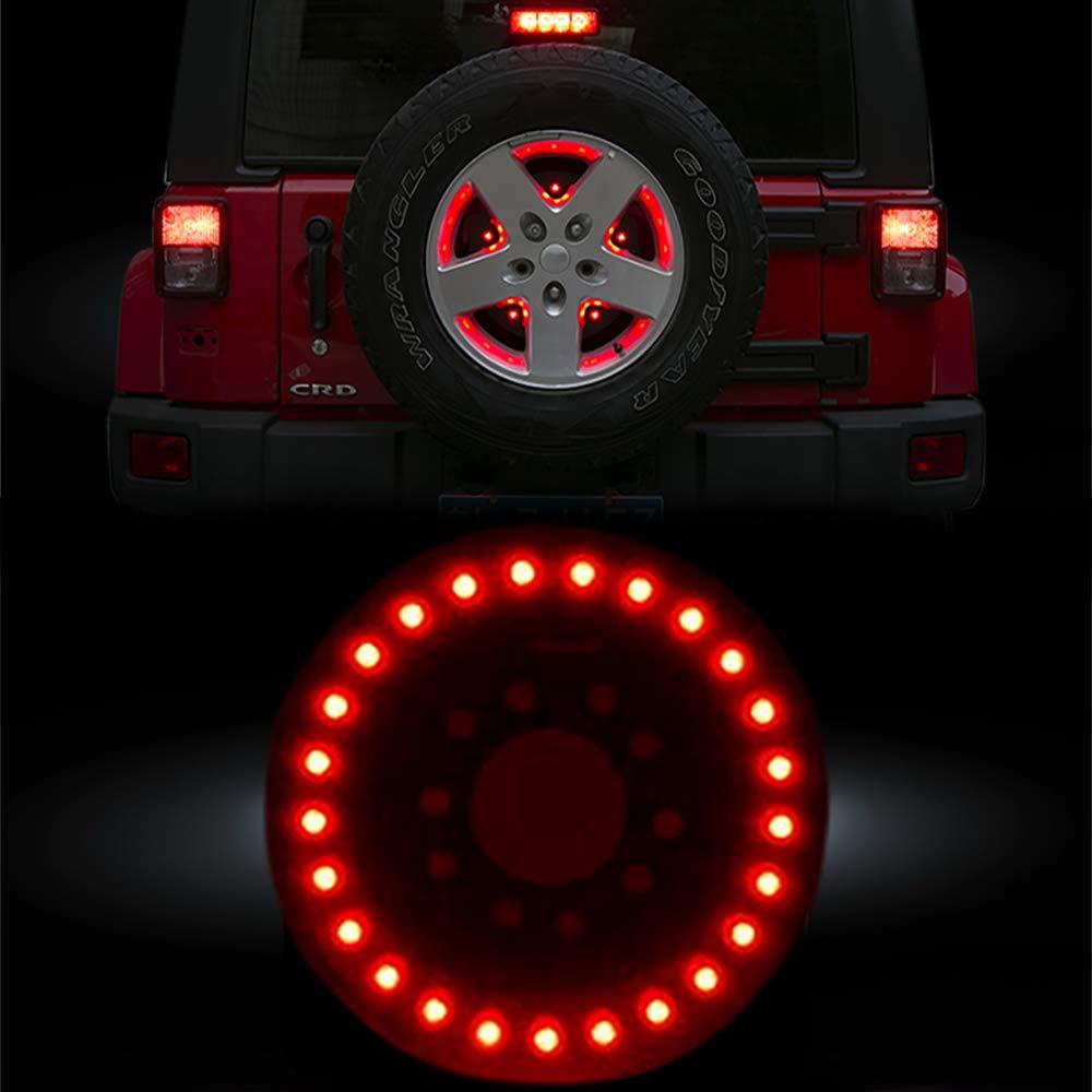 RT-TCZ Spare Tire Brake Light Wheel Light 3rd Third Tail Light LED Ring for Jeep Wrangler 2007-2019 JK JKU JL,Red Light