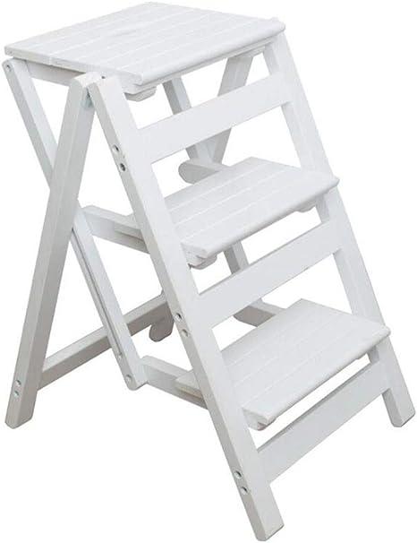 Taburete de paso Escalera de tres escalones de madera maciza Escalera de hogar plegable Escalera de interior con soporte de flores escalera pequeña ascendente Escalera de cocina para adultos y niños: Amazon.es: