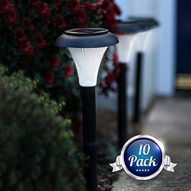 GardenJoy 10 Pack of Outdoor Solar Garden Lights. Transform Your Yard Path Lawn & Landscape Lighting