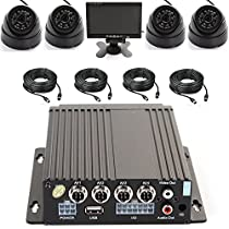 Wen&Cheng 4CH 720P Mobile AHD DVR Realtime Video/Audio Recorder with Remote Control + 4 pcs 24 IR LED Dome Camera + 7 TFT LCD Color Monitor + 4pcs Cables, Car Black Box Security System