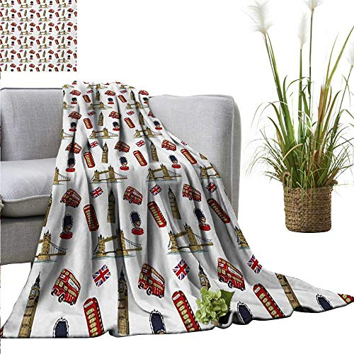 """Weighted blanket for kids,London,Big Ben Tower Bridge Royal Guard Telephone Double Decker and UK Flag,Violet Blue Red Sand Brown,Weighted Blanket for Adults Kids, Better Deeper Sleep 70""""x90"""""""