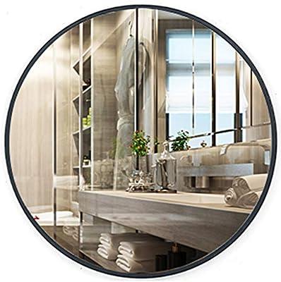 Moderno Baño Ducha Espejo de Pared Espejo para afeitarse Real Cristal Espejo - Ronda de Paso de Entrada, Dormitorio, Sala de Estar, etc, (Diámetro: 40-80cm, Negro): Amazon.es: Hogar