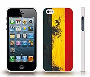 Case For Iphone 5/5S Cover with Belgium Flag Painted Texture Look Design , Snap-on Cover, Hard Carrying Case (White)