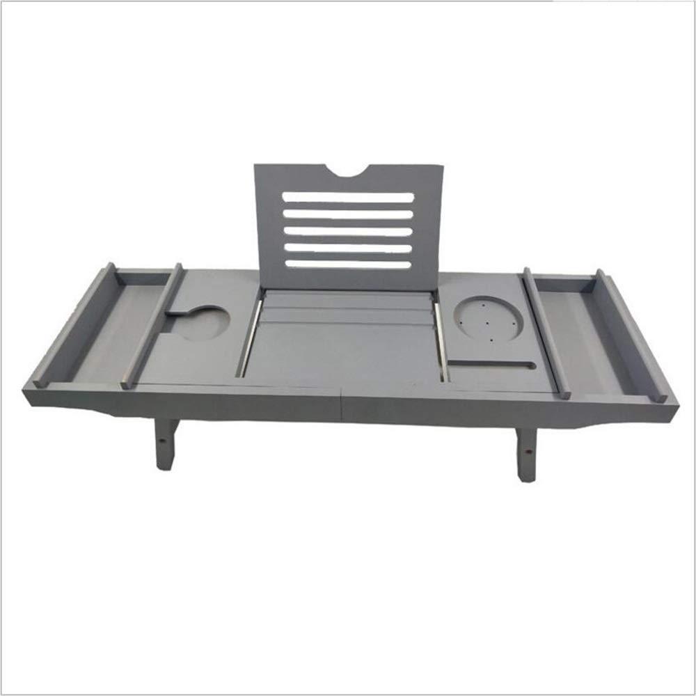 Bathtub Trays HAIZHEN, Bamboo, Adjustable Telescopic Bed Laptop Desk with Wine Glass/Phone Holder /2 Sliding Tray (Gray) by Bathtub Trays (Image #2)