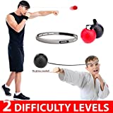 POAGL.com Speed Boxing Ball Reflex Fight Ball with Headband | Training Reaction Ball on String Punching Focus Punch Head Band Practice Trainer Hand Eye Coordination Cap Hat Kit Set Bundle Adult Kids