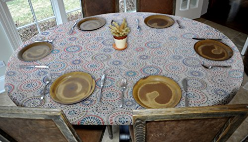 Oblong Table Cover - Elastic Edged Flannel Backed Vinyl Fitted Table Cover - Multi-Color Geometric Pattern - Oblong/Oval  Fits Tables Up to 48