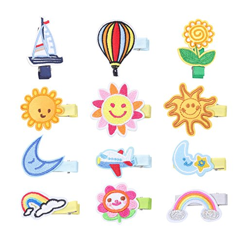 KOONY Baby Girls Hair Clips Cartoon Design Embroidered Patches Barrettes 12pc (Sunshine)
