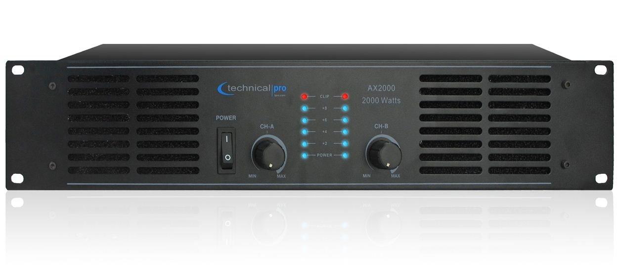 Technical Pro AX Amplifier Series AX2000 2000-Watt of peak power 2U Professional 2CH Channel Power Amplifier, Black by Technical Pro
