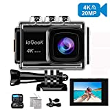 Action Camera, ieGeek 4K 20MP WiFi Waterproof Sports Cam Ultra HD Underwater Camera DV Camcorder EIS Image Stabilizer 170 Degree Wide-Angle with 2 Battery/External Microphone/Carry Case/Accessory Kit