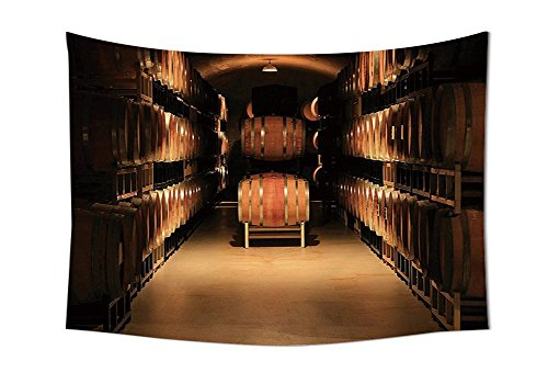asddcdfdd Winery Decor Collection Wine Barrel Stacked in Cellar Aged Old Fermenting Quality Container Storage Basement Image Bedroom Living Room Dorm Wall Tapestries Brown