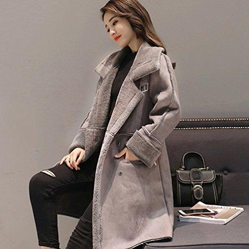 Hiver Fausse Femme Boutonnage Manteaux Fourrure YuanDian Veste Longue Montant Double Chaud Gris Col IOFxEOw