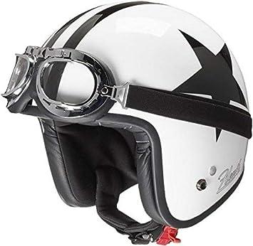 xl, Bianco HEVIK Casco Jet custom harley triumph vespa chopper bobber retr/ò vintage occhiale maschera frontino caf/é racer calotta in fibra