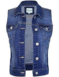 Womens Classic Casual Vintage Denim Jean Jacket/Vest