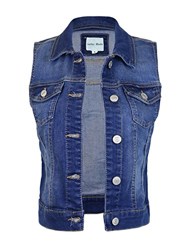 Design by Olivia Women's Sleeveless Button up Jean Denim Jacket Vest Medium Denim 1XL