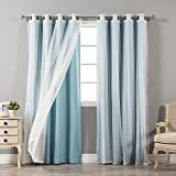"Best Home Fashion Mix & Match Tulle Sheer Lace & Blackout Curtain Set - Antique Bronze Grommet Top - Ocean - 52"" W X 96"" L - (2 Curtains and 2 Sheer Curtains)"