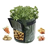 VIVOSUN 2-Pack 7 Gallon Garden Planter Plastic Grow Bag w/Access Flap for East Harvest, Perfect for Planting Potato, Carrot, Tomato, Onion
