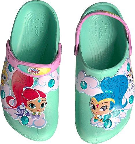 Crocs Unisex-Baby Nickelodeon Fun Lab Shimmer & Shine Light-up Clog, New Mint, 7 M US Toddler