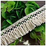 Beautiful By Design Beige 5 Yards Grace Fringe Cotton Ribbon Lace Trim Fabric Ribbon Bridal Veils Craft Lace 1 inches Wide