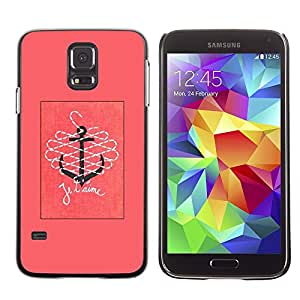 Be Good Phone Accessory // Dura Cáscara cubierta Protectora Caso Carcasa Funda de Protección para Samsung Galaxy S5 SM-G900 // T'Aime I Love You Pink Text Anchor