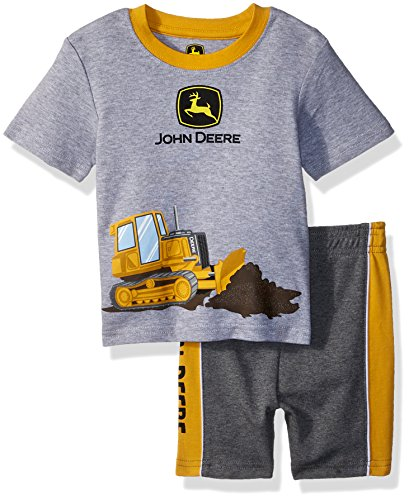 John Deere Baby Boys Short Set, Heather Grey/Construction Yellow, 18 Month