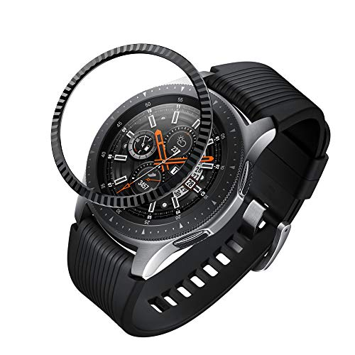 (BaiHui Compatible Galaxy Watch Bezel Ring 46mm / Galaxy Gear S3 Frontier & Classic Bezel Ring,Stainless Steel Bezel Ring Protection Cover for Galaxy Watch Accessory (02-Black))