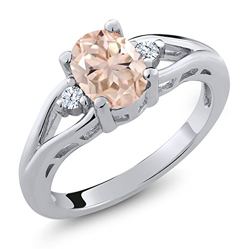 - Gem Stone King 1.08 Ct Oval Peach Morganite White Topaz 925 Sterling Silver 3 Stone Ring (Size 5)
