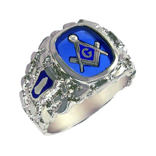 I.B.G. Sterling Silver Masonic Blue Lodge Ring. Finger Size 9