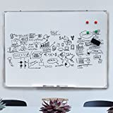 "Sundale Magnetic Dry Erase Board Lightweight White Board Wall Mounted Dry Erase Board with All Accessories, Silver Aluminium Frame, for Office, Home, Classroom, 47"" x 35"""