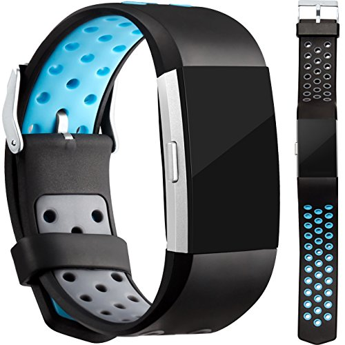 Wepro Bands Replacement for Fitbit Charge 2 with Air Holes, 3 Pack, Buckle, Large, Small