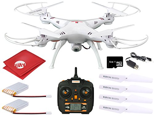 Circuit City Dynamic Aerial Systems X4 Spartan 2.4GHz 4CH 6-Axis Gyro RC Quadcopter Drone with 2MP Camera + LED Lights + 2 Batteries