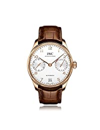 IWC Portugieser Automatic White Dial 18kt Red Gold Mens Watch IW500701