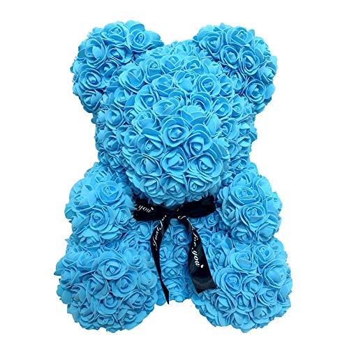 Homentum Rose Bear Teddy Forever Artificial Flowers are The Best Gifts for Valentine's Day, Anniversaries, Birthdays, Weddings (Small, Blue) (Bouquet Rose Box Romantic)