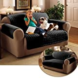 Quilted Microfibre Furniture Protector Water Repellent Soil & Snag Resistant Settee Cover Three Seater (Black)