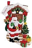 Bucilla 18-Inch Christmas Stocking Felt Applique Kit, 86893 Santa's Here