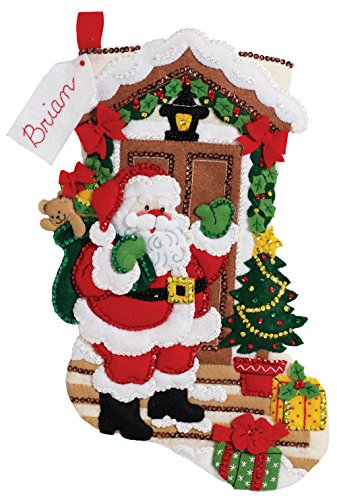 Bucilla 18-Inch Christmas Stocking Felt Applique Kit, 86893 Santa's Here