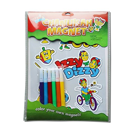 Chanukah Magnetic Sticker Kit - Color Your Own Magnet - Includes 6 Mini Markers, 1 Canvas - Hanukah Arts and Crafts and Games by Izzy 'n' Dizzy ()