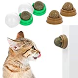 4 Pack Catnip Balls, Natural Catnip Toys Rotating Interactive Cat Toys, Self-Adhensive Wall Mounted 360 Degree Rotatable, Teeth Cleaning Catmint Toy for Cat Kitten Kitty