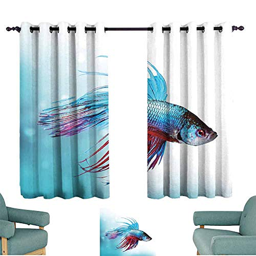 Mannwarehouse Aquarium Simple Curtain Siamese Fighting Betta Fish Swimming in Aquarium Aggressive Sea Animal Suitable for Bedroom Living Room Study, etc.72 Wx45 L Sky Blue Dark Coral