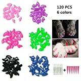 Cat Nail Caps, Tsfan 120 Pcs Soft Paws Pet Nail Caps 6 Colors Cat Claw Caps with 6 Adhesives and Applicators for Cat Paws (Small)